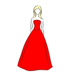 outline of a girl in red dress vector image vector image