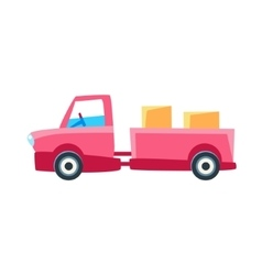 Pink Truck With Trailer Toy Cute Car Icon vector image vector image