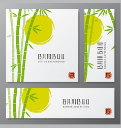 asian bambu threes cards or japanese bamboo vector image