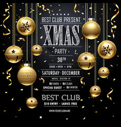 christmas party design black vector image vector image