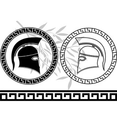 hellenic helmets and olive branch vector image vector image