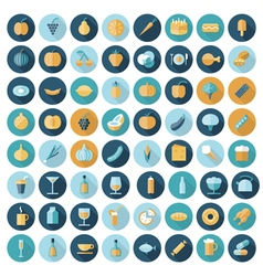 Icons flat line all food vector