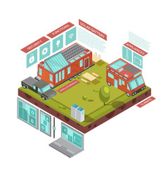 mobile house isometric concept vector image