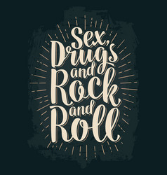 sex and rock and roll lettering with rays vector image