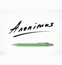 signature anonimus icon vector image