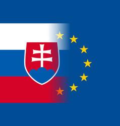 Slovakia national flag with a star circle of eu vector