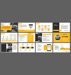yellow presentation templates and infographics vector image vector image