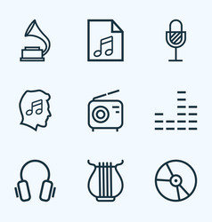 Audio outlines set collection of wireless vector