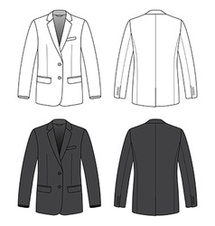 Front back and side views of blank blazer vector image