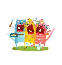 fun hungry cats animals eating eggs vector image vector image