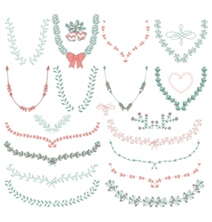 Hand-Drawn Floral Wreaths Laurels vector image vector image