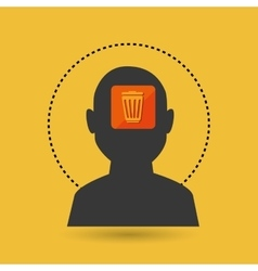 silhouette trash bin icon vector image vector image