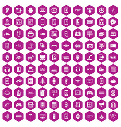 100 adjustment icons hexagon violet vector