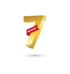 7 year anniversary template design vector