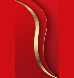 Abstract overlap wavy background red and gold vector