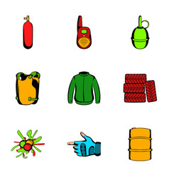 ammunition icons set cartoon style vector image