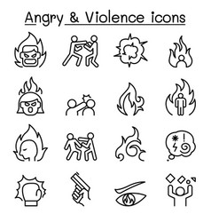 angry violence icon set in thin lines style vector image