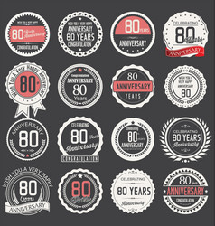 anniversary retro label collection 80 years vector image