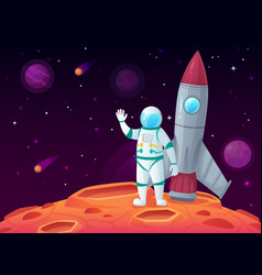 astronaut in lunar surface rocket spaceship vector image