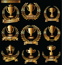 Award cups and trophy icons with laurel wreaths vector