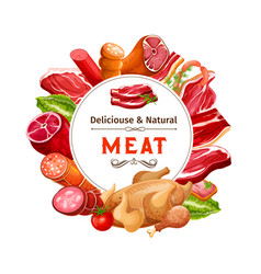 Beef and pork meat sausages ham bacon and salami vector