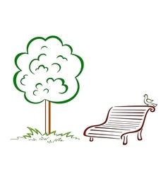 Bird park bench green tree vector