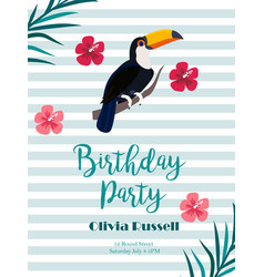 Birthday tropical invitation card with toucan and vector