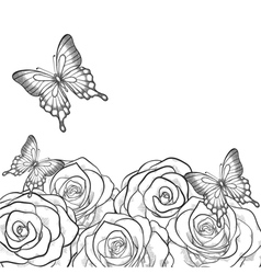 Black and white card with roses and butterflies vector