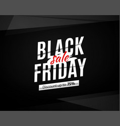 black friday sale banner poster logo on black vector image