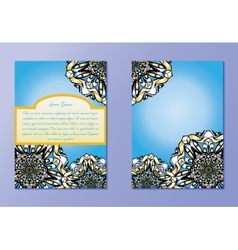Blue and yellow brochures or flyers or invitations vector