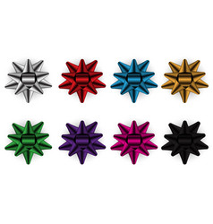 bow ribbon color set collection on white vector image