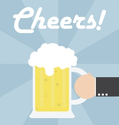 Businessman hand holding beer mug vector image