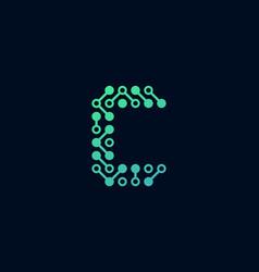 c circuit digital letter logo icon design vector image