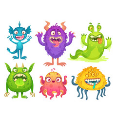Cartoon monster mascot halloween funny monsters vector