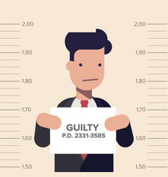 Caught guilty businessman or manager with id signs vector