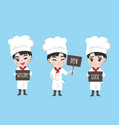 chef boy hold signage vector image