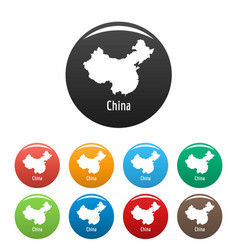 china map in black set simple vector image