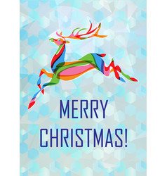 Christmas card with colorful deer vector
