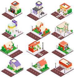 city buildings isometric set vector image