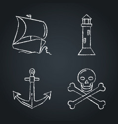 Collection nautical icon sketches on chalkboard vector