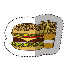 Color hamburger and fries french icon vector