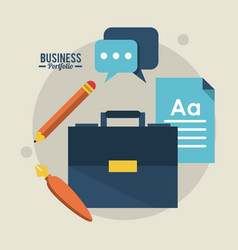 Colorful poster business portfolio with briefcase vector