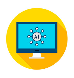 Computer ai circle icon vector