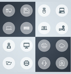 computer icons line style set with mouse online vector image