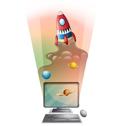 Computer screen with rocket ship in space vector image