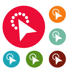 Cursor modern click icons circle set vector