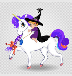 cute baby witch girl riding beautiful magical vector image