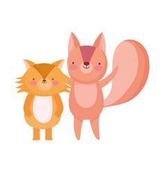 Cute fox and squirrel animals cartoon character vector