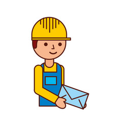 delivery man standing and holding envelope courier vector image