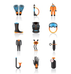 Diving equipmment icon set vector